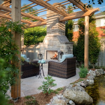 Backyard Brick Fireplace